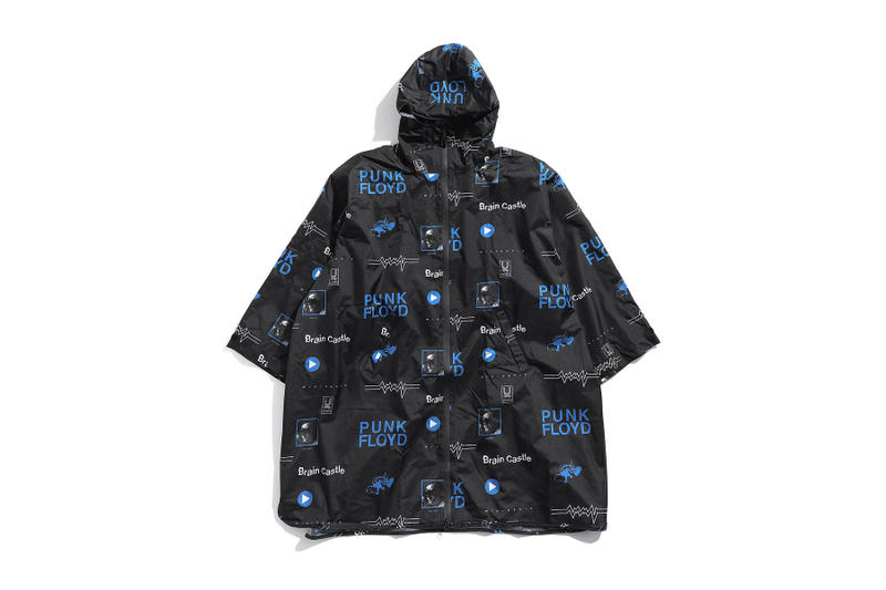 undercover kiu collaboration july 21 2018 printed raincoat black blue punk floyd brain castle zipper pocket