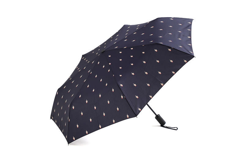 undercover kiu collaboration july 21 2018 printed umbrellas navy blue white middle finger graphic zipper pocket
