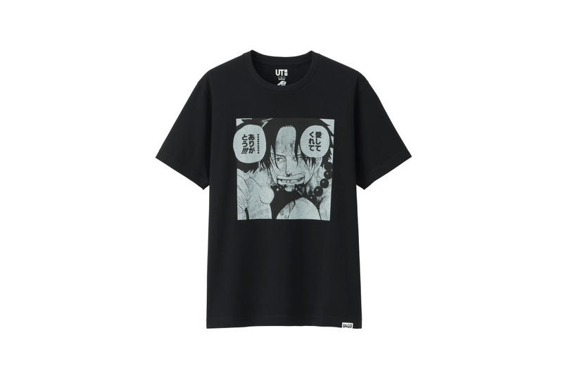 shonen jump uniqlo ut graphic tee shirt collaboration final black shanks thank you white print manga