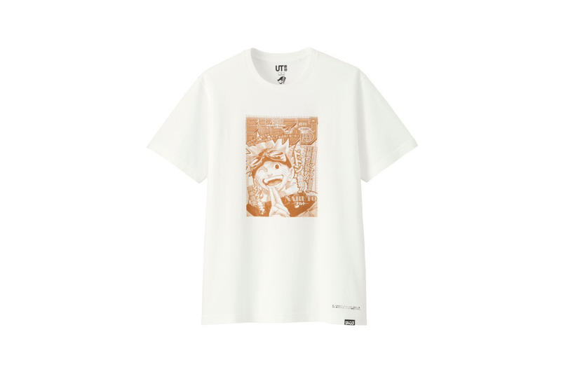 shonen jump uniqlo ut graphic tee shirt collaboration final white orange naruto print cover first manga chapter