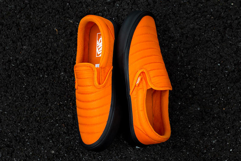 cb04f4af2c05 Vans Slip On Lite Quilted Russett Orange Release Ultra Cush Black