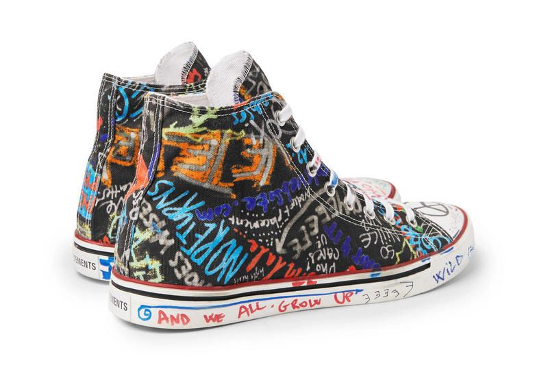 Vetements Graffiti High Top Canvas Sneakers Demna Gvasalia new 2018 shoes spring summer ss18 print