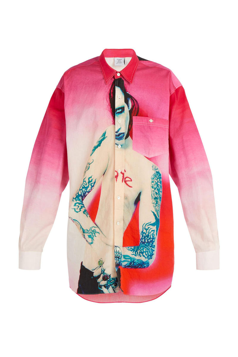 vetements marilyn manson printed pink gradient oversized shirt 970 usd dollars price buy pre order sale fall winter 2018 Matchesfashion.com