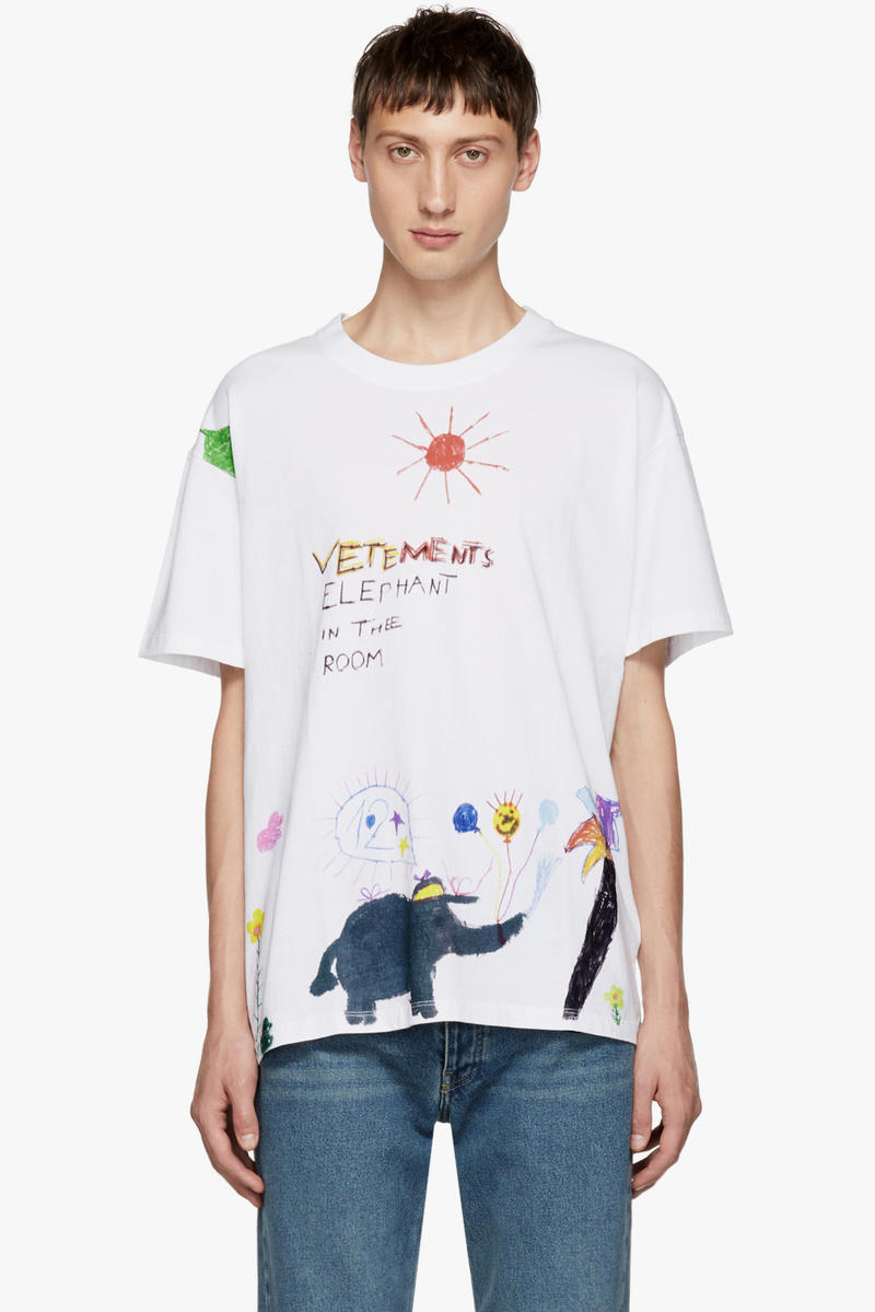 vetements fall winter 2018 tee shirt White Elephant Red Sun T-Shirt graphic scribble doodle 490 usd buy purchase sale design children