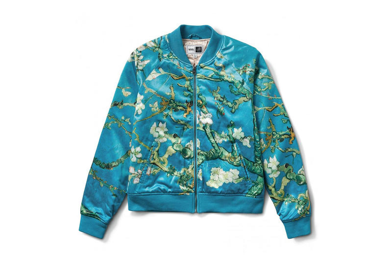 2e6bfcbc735c81 vincent van gogh museum vans collaboration artwork satin bomber varsity  jacket almond flower blue blossom