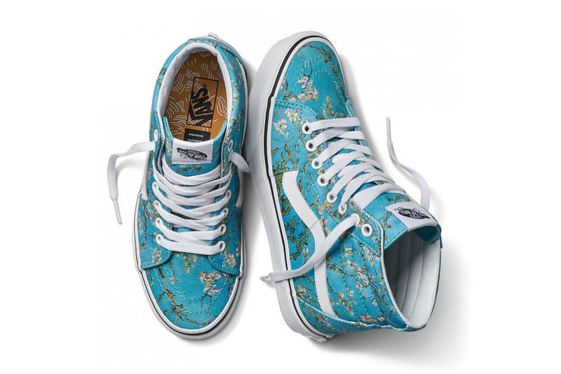 vincent van gogh museum vans collaboration artwork sneaker shoe sk8 hi blue white almond blossom flower