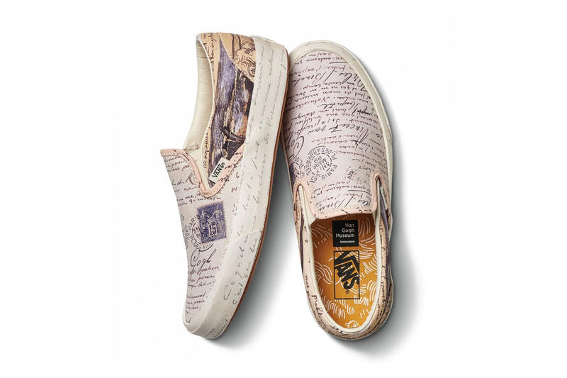 vincent van gogh museum vans collaboration artwork white drawing handwriting slip on sneaker shoe footwear
