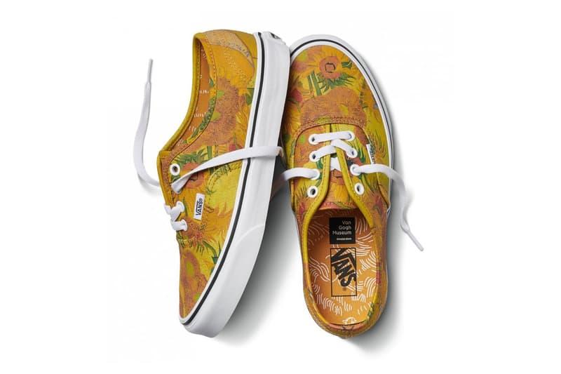 vincent van gogh museum vans collaboration artwork orange yellow sunflower authentic low white sneaker shoe