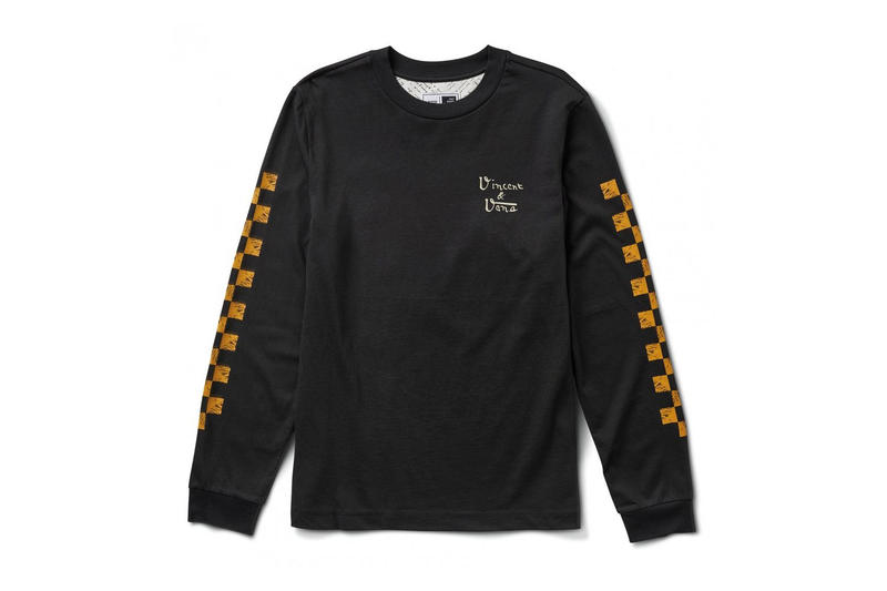 vincent van gogh museum vans collaboration artwork black long sleeve shirt tee yellow orange print skull checkerboard