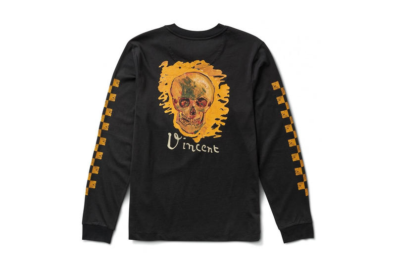 vincent van gogh museum vans collaboration artwork black orange yellow skull checkerboard print long sleeve tee