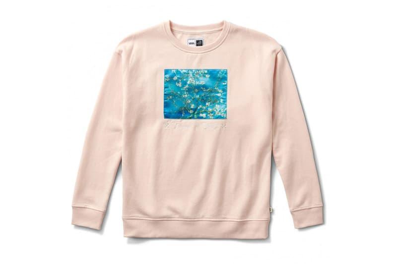 vincent van gogh museum vans collaboration artwork white almond flower tree print white cream blue crewneck sweater blossom