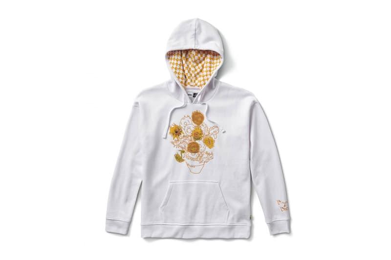 vincent van gogh museum vans collaboration artwork white sunflower hoodie artwork yellow checkerboard