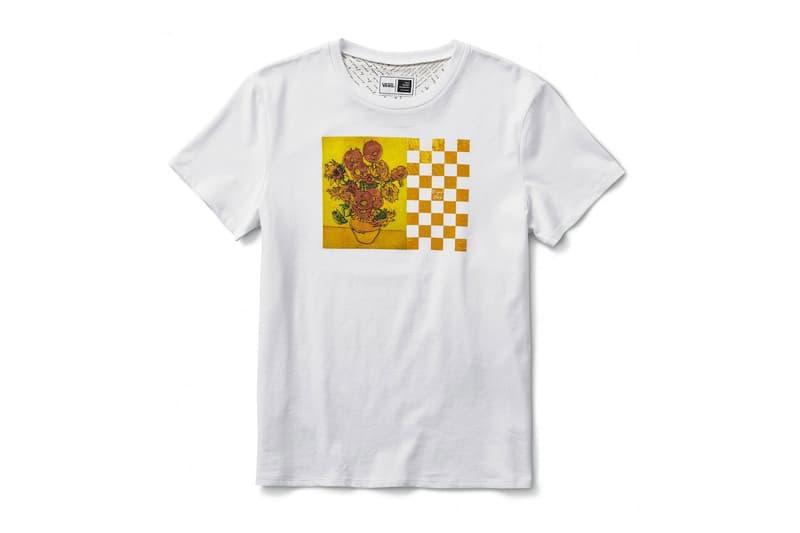 vincent van gogh museum vans collaboration artwork white short sleeve tee shirt yellow sunflower checkerboard print