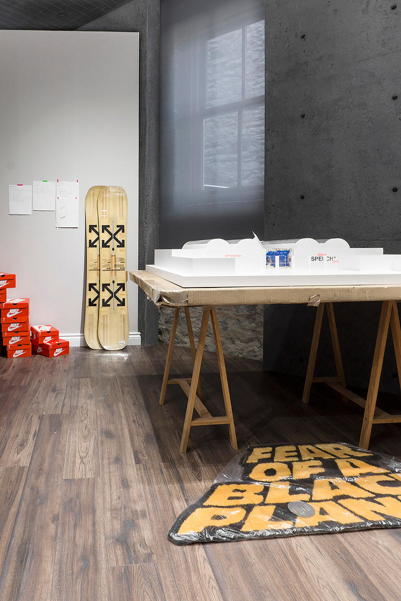 Virgil Abloh CUTTING ROOM FLOOR SSENSE Exhibit july 2018 studio inside recreate customize nike presto rimowa air force 1 rimowa exclusive collaboration signed