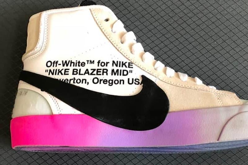 Virgil Abloh Nike Blazer Studio Release info off-white sneakers footwear collaboration rainbow sole