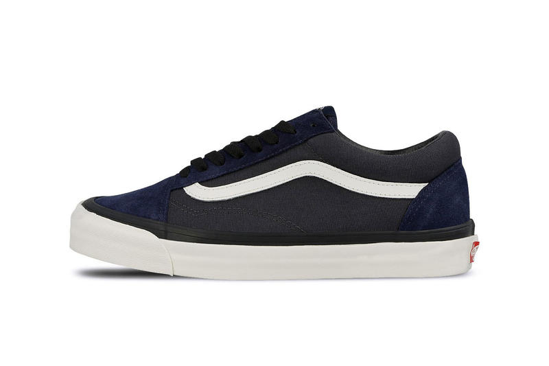 7ba5c021ae242c Vans OG Old Skool LX WTAPS Collaboration blue leather suede navy canvas white  jazz stripe branding