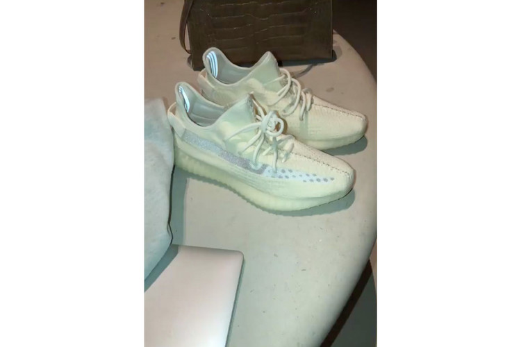 50f9ad03a1603 Kim Kardashian Delivers Another Look at the Clear-Striped YEEZY 350