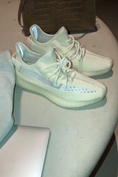 Kim Kardashian West Another YEEZY 350 Clear Stripe V2 Colorways Leak Instagram Story Coming Soon Kanye West Grey White Pattern Knit Release Details Information First Look Clear Translucent See Through Transparent