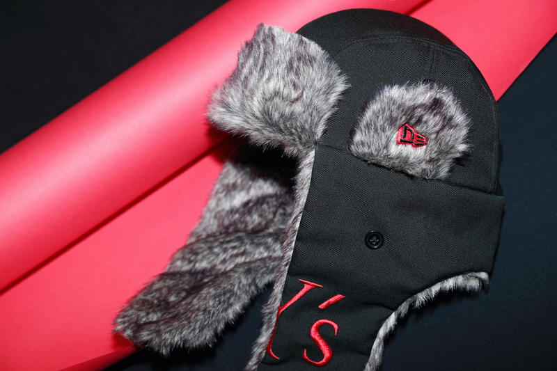 y's yohji yamamoto new era collaboration the trapper fuzzy furry hat waist fanny pack bag shoulder branding logo curved brim cap hat black red japan collection fall winter august 2018 3 drop release date buy purchase sale sell