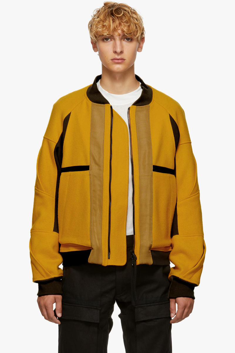 Abasi Rosborough fall winter 2018 ssense exclusive limited 10 pieces flight jacket yellow wool technical new york america outerwear