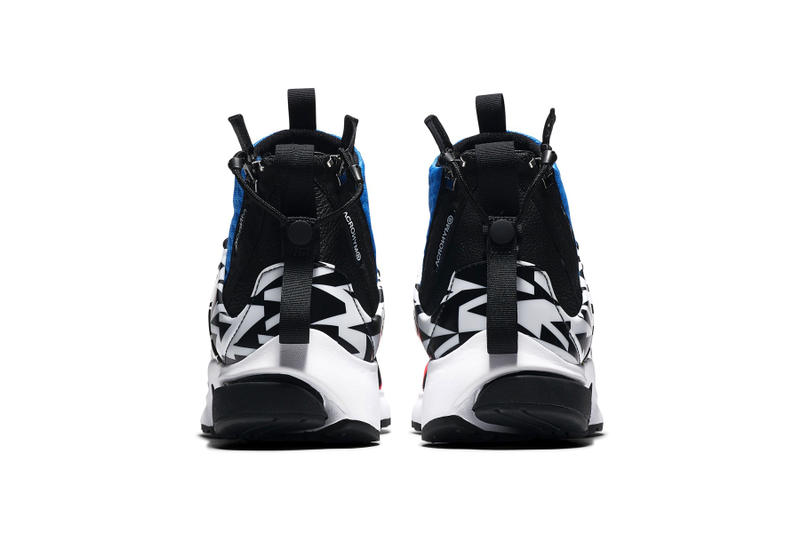 acronym nike air presto mid nike sportswear 2018 september racer pink photo blue white black footwear colorway houndstooth pattern