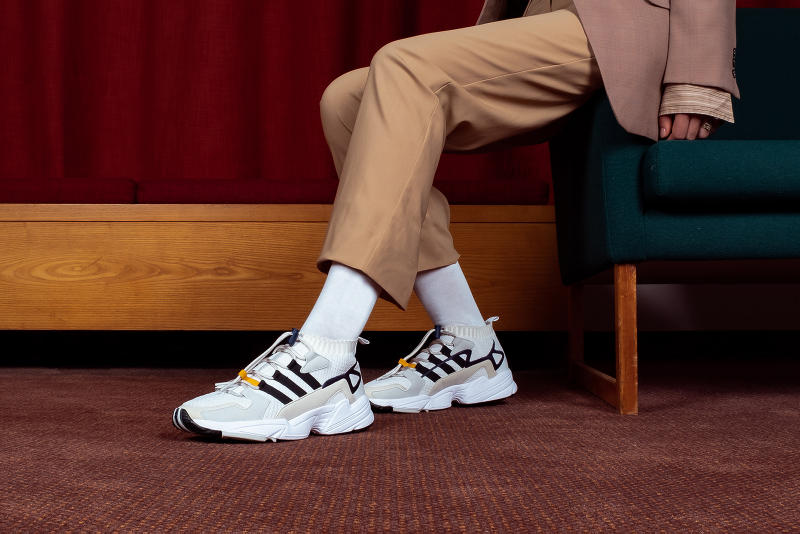 adidas Consortium Workshop Falcon SS2G Sneaker Details Kicks Shoes Trainers Footwear Cop Purchase Buy Now White Primeknit Suede Yellow Detailing Closer Look First