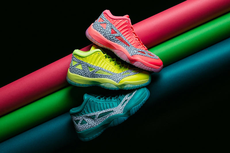 Air Jordan 11 Low IE Highlighter Pack jordan brand release info volt crimson flash rio teal