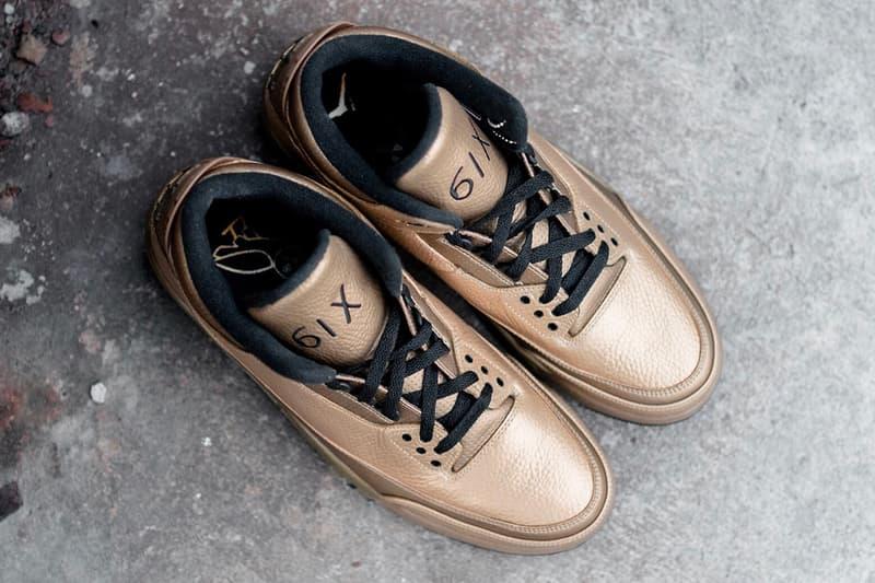 "Air Jordan 3 x OVO ""6IX"" Gold Sneaker Details Rare Unreleased Shoes Sneakers Kicks Trainers Footwear"