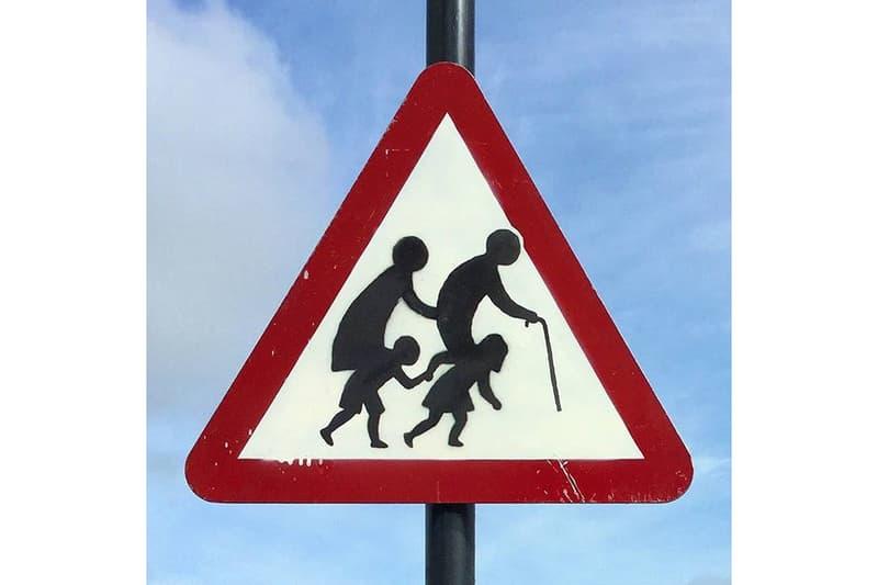 banksy street sign public artwork clevedon england street art
