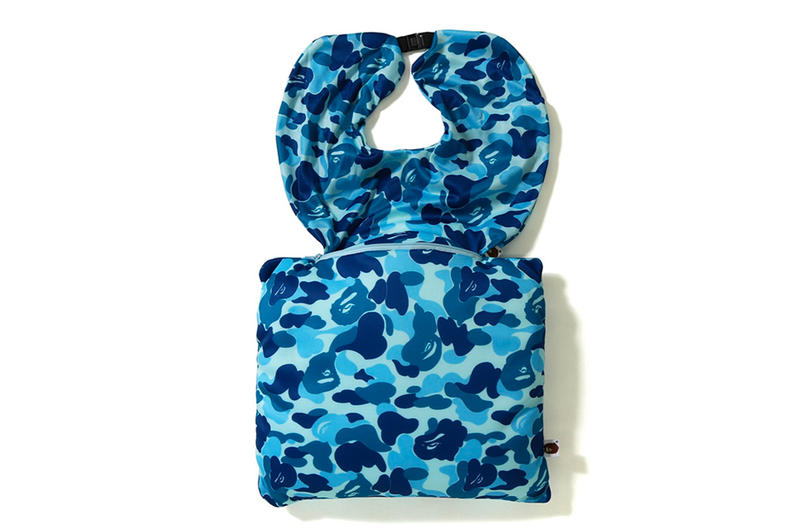 bape a bathing ape 2 way neck pillow blue