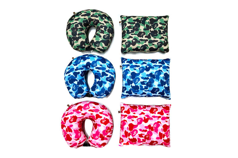 bape a bathing ape 2 way neck pillow green blue pink
