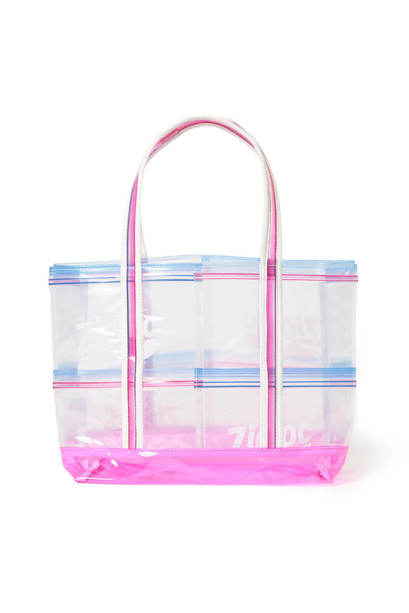 beams couture ray ziploc collaboration bags hats umbrella see through transparent plastic tote bag blue