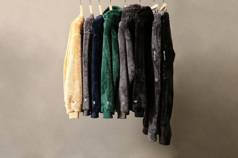 BEAUTY & YOUTH united arrows champion sherpa fleece collaboration collection fall winter 2018 hoodies sweaters sweatpants trousers pants drawstring black green grey tan beige