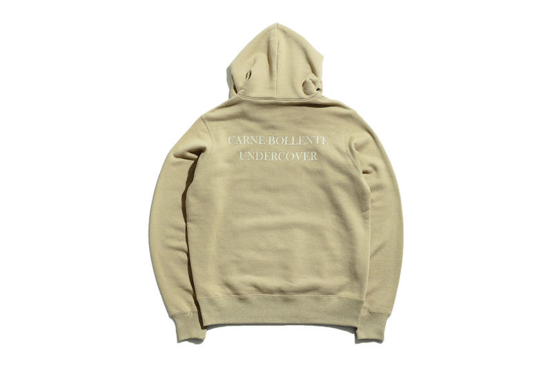 Undercover carne bollente collaboration collection sweater shirt tee tshirt hoodie coaches jacket branding embroidery paris japan madstore drop release date info august 25 2018 purchase sell sale green black white beige