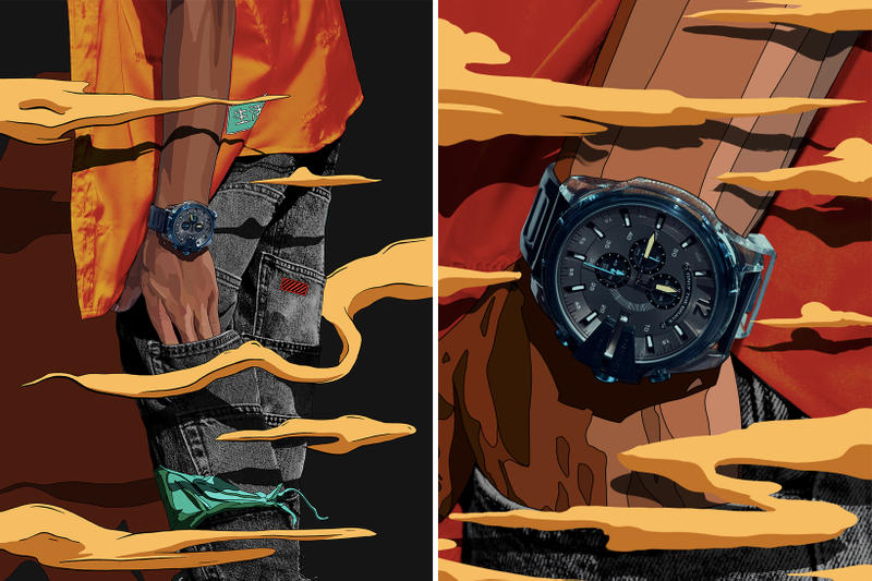 Diesel Mad Dog Jones Transparency Blue Lookbook jeans denim indigo blue clear watches timepieces chronograph Mega Chief DZ4487 MS9 DZ1868