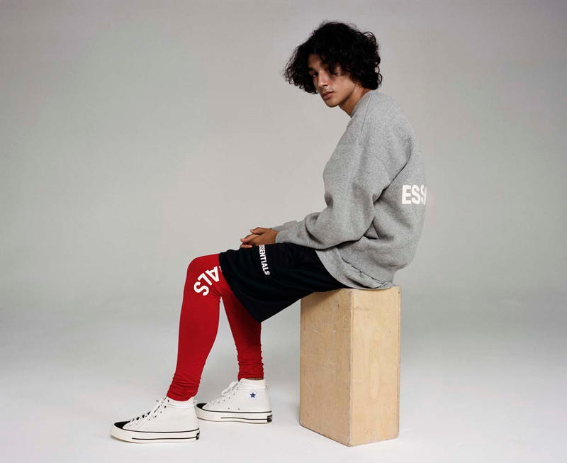 ESSENTIALS Fall winter 2018 Campaign Converse Sneakers imagery colorways drop release date info pacsun collaboration hoodies shirts sweaters leggings shorts denim jeans jackets hoodies tees branding logos jerry lorenzo fear of god fog