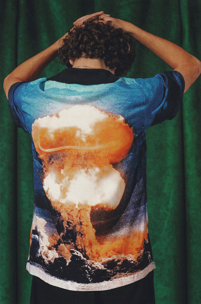 golf wang fall 2018 lookbook collection shirt explosion mushroom cloud nuclear atomic bomb blue orange black white black pants shorts