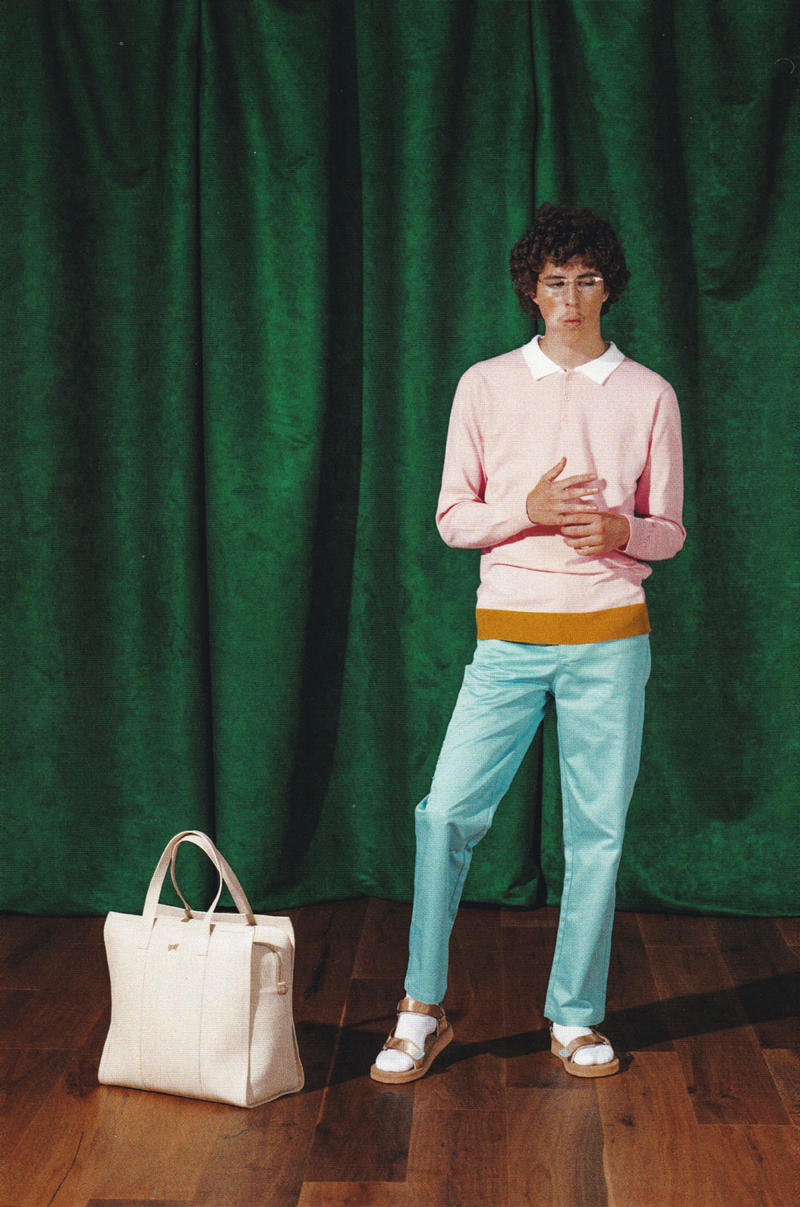 e00e034ec94a golf wang fall 2018 lookbook collection polo rugby shirt chino pants  sandals socks bag tote tan