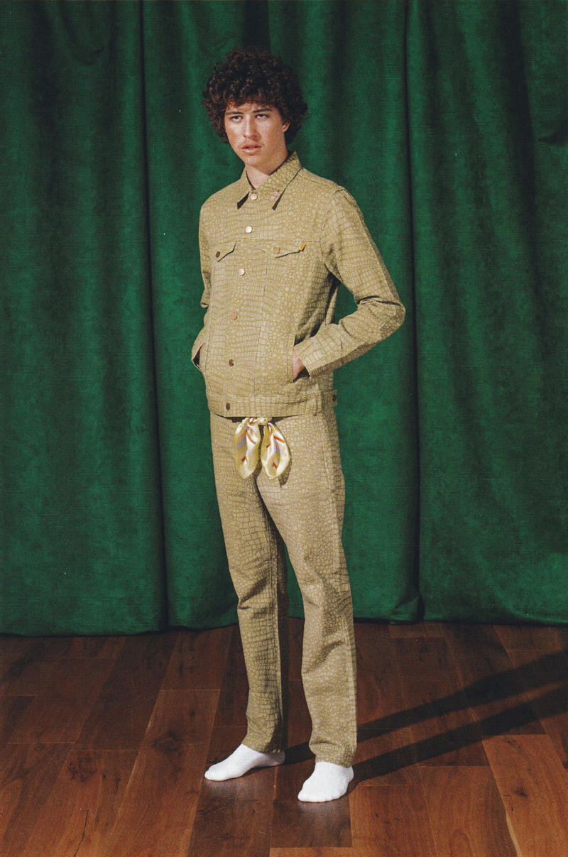 92c0a477598d golf wang fall 2018 lookbook collection snakeskin trucker jacket pants  print drawstring beige