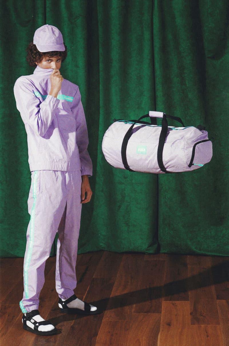 golf wang fall 2018 lookbook collection track suit pink duffel bag black teva sandal hat flat brim suicoke collab