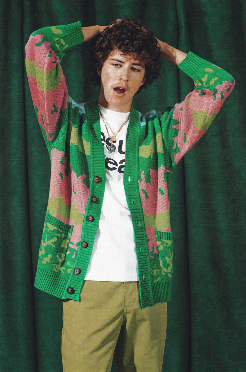 golf wang fall 2018 lookbook collection knit pattern cardigan tee shirt chino pants beige green pink blue red necklace jewelry gold