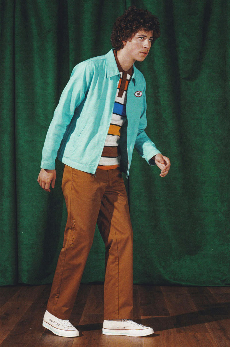 golf wang fall 2018 lookbook collection orange converse sneaker pants chino embroidery logo work harrington jacket blue pink patch polo rugyby shirt stripe green white red blue black border