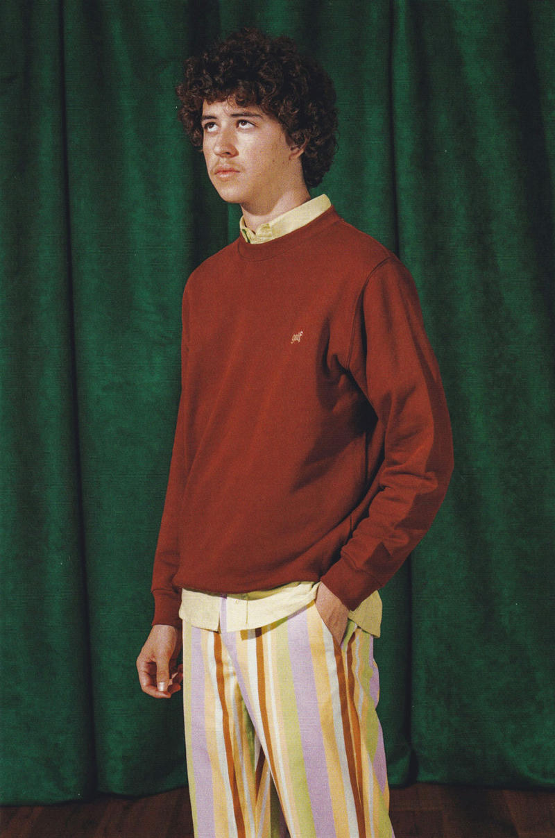 c9782311c899 golf wang fall 2018 lookbook collection red pullover jumper sweater  vertical stripe pants shirt yellow pink