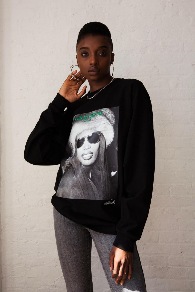 guess green label jeans usa ricky powell collaboration graphic tee shirts sweater long sleeve andy warhol keith haring grace jones print japan shibuya release date drop info buy purchase sale sell black white