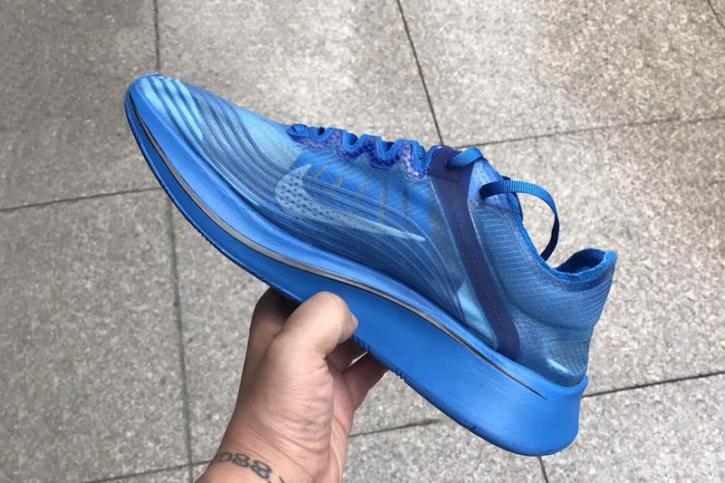 GYAKUSOU Nike Zoom Fly SP Closer Look Royal Blue Purple White Bones sneaker release date info leak jun takahashi