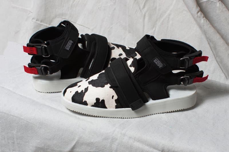 3959bb137b9 John Elliott Suicoke fall winter 2018 sandal collaboration pony hair custom  collection cow black white pattern