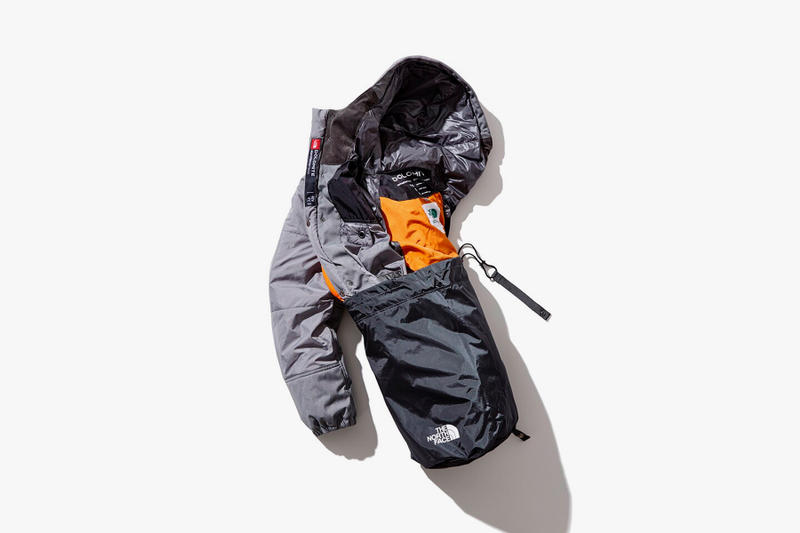 junya watanabe eye comme des garcons man the north face dolomite sleeping bag yellow grey transformable packable customized fall winter 2018 drop release date info buy purchase shop sale collaboration collection