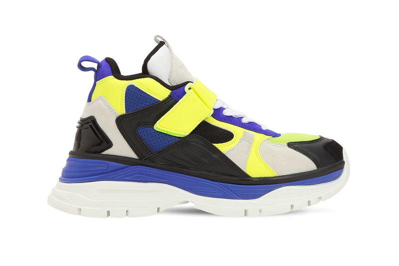 JUUN.J Chunky Leather Strap Trainer black yellow blue white release info