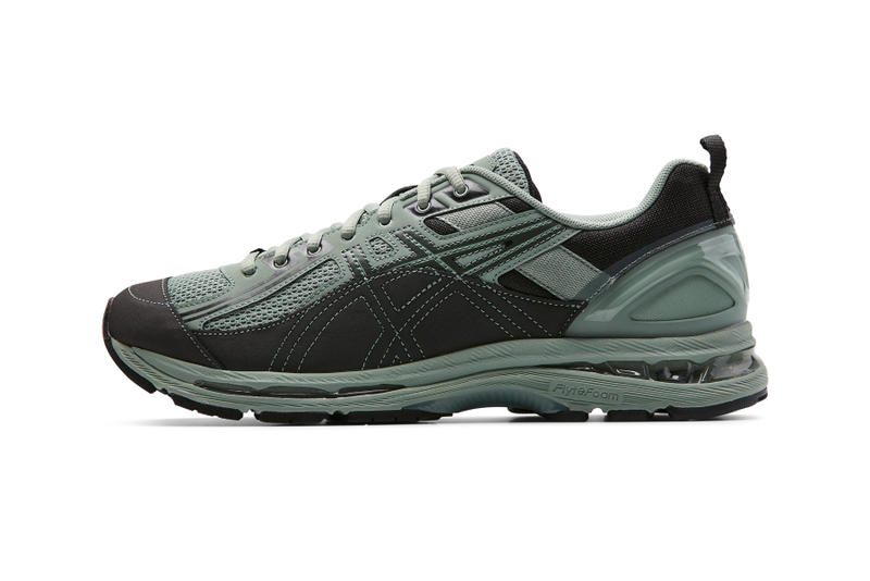 kiko kostadinov asics gel burz sneaker shoe collaboration drop release date info launch available purchase buy sell sale grey august 10 2018 info closer look forest seafoam terracotta