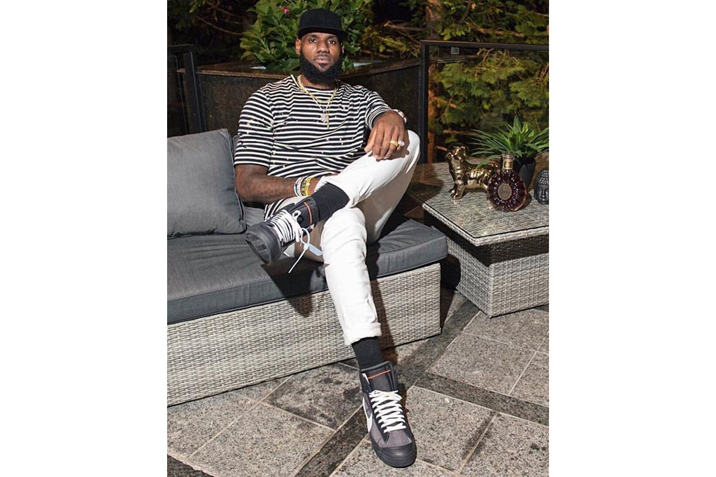 a86aedbe59e64 LeBron James Wears OFF-WHITE x Nike Air Force 1
